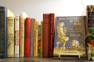 A close up picture of book spines and one book faced out called Mrs. Pickerell goes to the Moon.